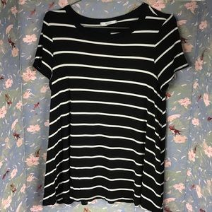 Acemi Black White stripe top Sz m loose oversized